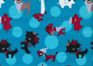 Cotton Poplin Fabric Dogs turquoise