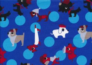 Cotton Poplin Fabric Dogs royal blue