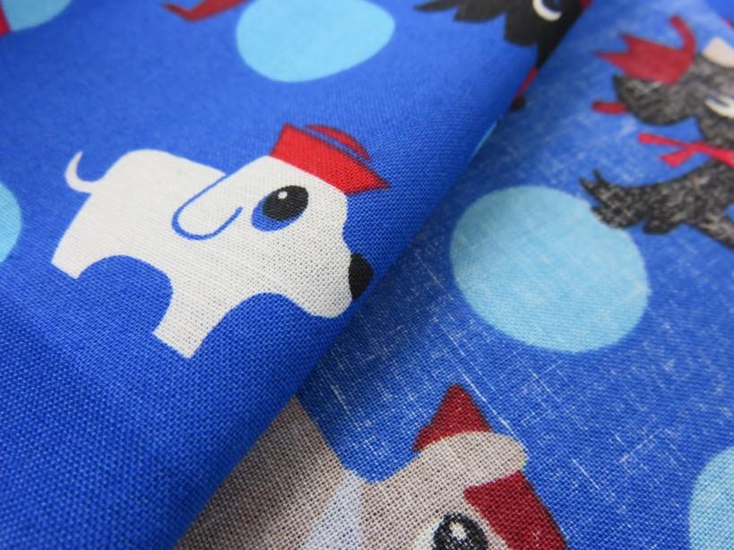 Poplin hund royalblå