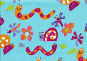 Cotton Poplin Fabric small animals turquoise