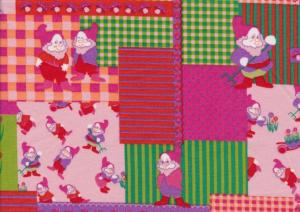 Cotton Poplin Fabric Garden Gnomes in Squares pink