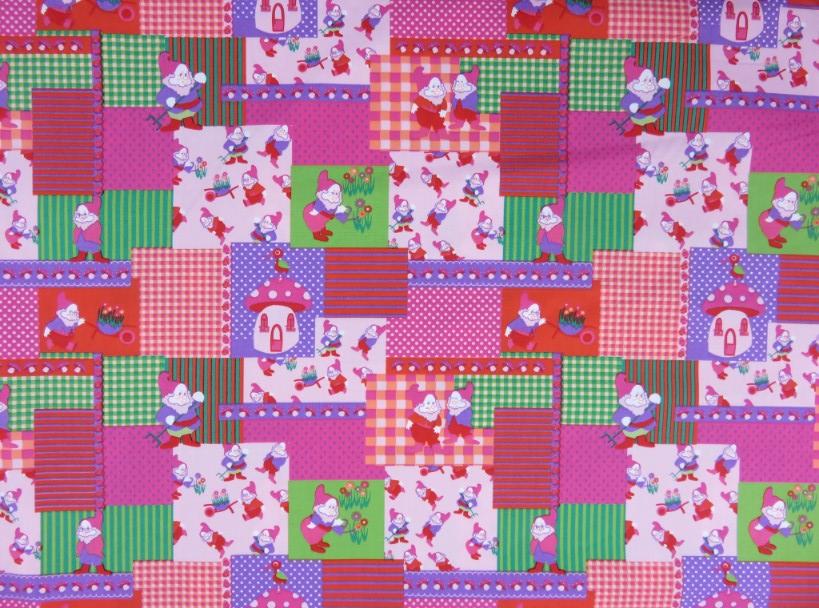 Poplin Trädgårdstomte i ruta rosa