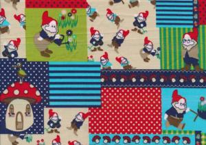 Cotton Poplin Fabric Garden Gnomes in Squares red