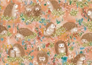 Cotton Fabric Hedgehog Village orange