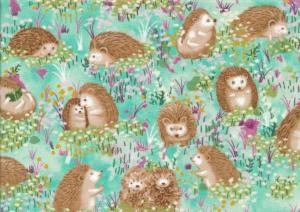 Cotton Fabric Hedgehog Village turquoise