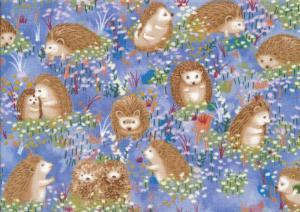 Cotton Fabric Hedgehog Village blue