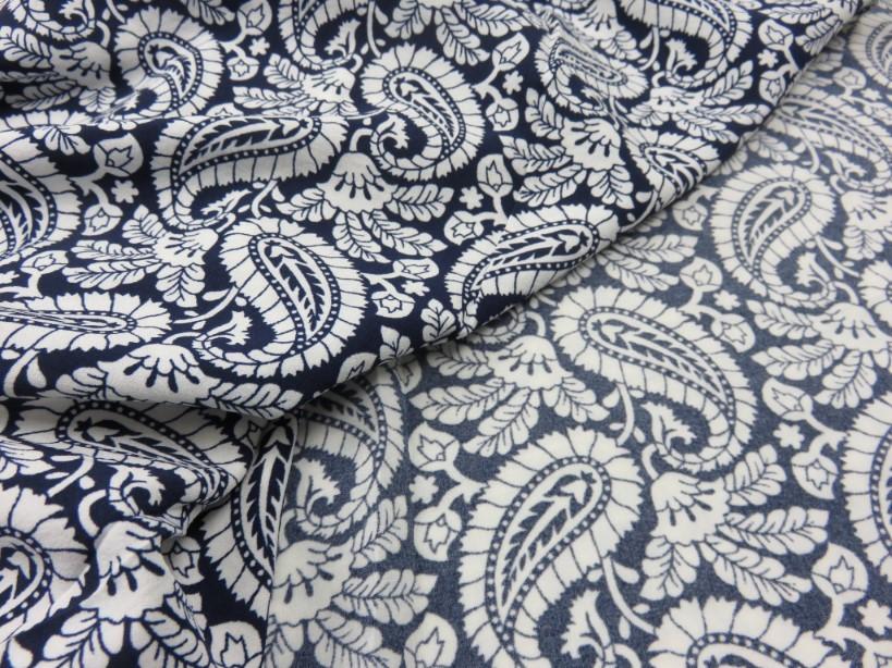 Vävt stretchtyg Paisly mörkblå
