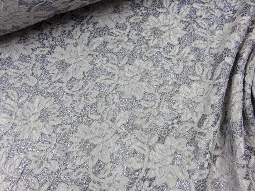 Glittersatin med spets grå