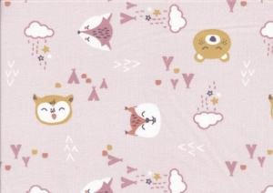Bomullstyg Nattdjur rosa