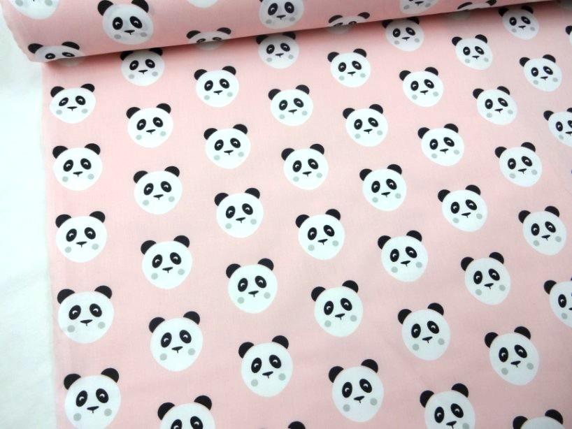 Bomullstyg Panda rosa