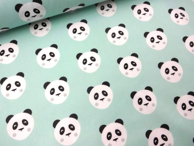 Bomullstyg Panda grön