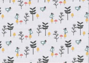 Cotton Fabric Small Birds in Hats