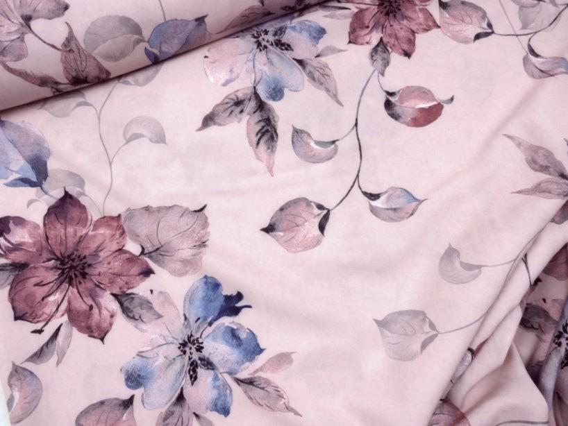 Vävt tyg blomma rosa
