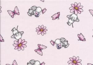 V638 Cotton Fabric Elephant and Rabbit light pink