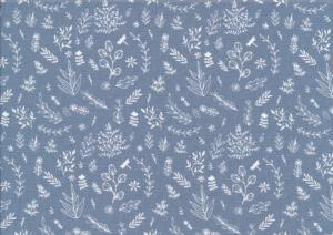 V651 Bomullsväv Löv blå