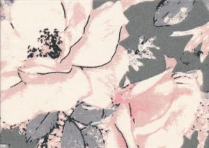 V656 Bomullsväv Stora ljusrosa blommor