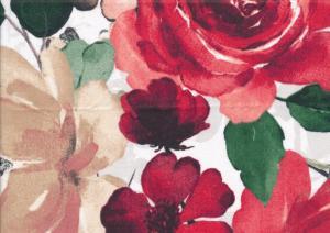 V657 Bomullsväv Stora röda rosor
