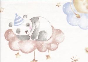 V658 Bomullsväv Sömniga djur på moln