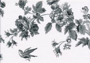 V661 Bomullsväv Blommor och fåglar vit