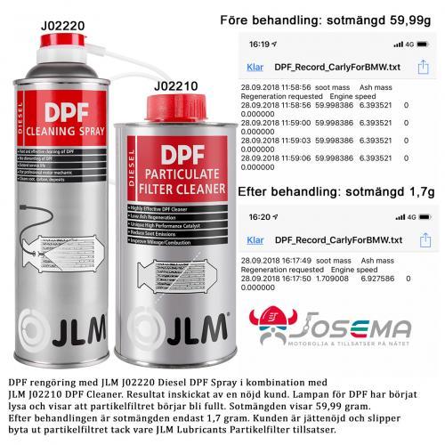 DPF fullt med sot 5,99 gram före behandling. Efter behandling är sotmängden i partikelfiltret endast 1,7 gram tack vare jlm dpf spray och dpf cleaner