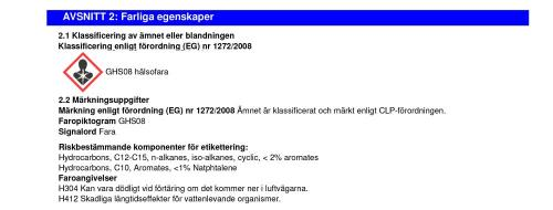 Information farliga egenskaper J02283 Step 1 of 2 Cleaning Fluid Extreme Clean