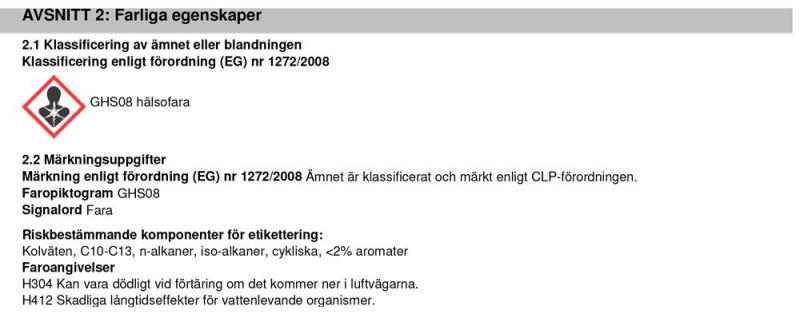 Information farliga egenskaper J02370 Diesel Katalysator Cleaner