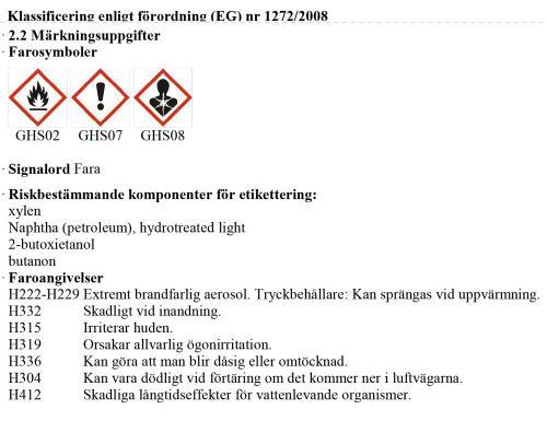 Information farliga egenskaper J02710 Diesel & Bensin Luftintag & EGR Rengöring