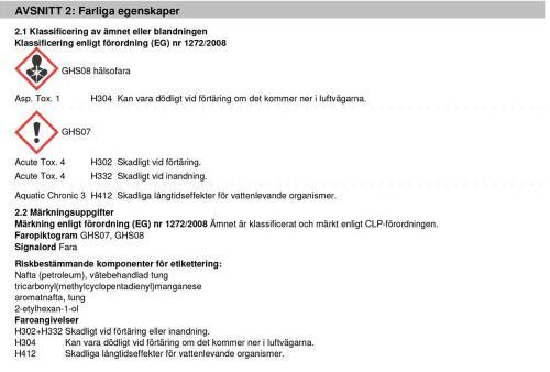 Information farliga egenskaper J03155 Bensin Extrem Cleaner