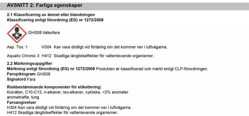 Information Farliga Egenskaper J03165 JLM Bensin Oktanbooster