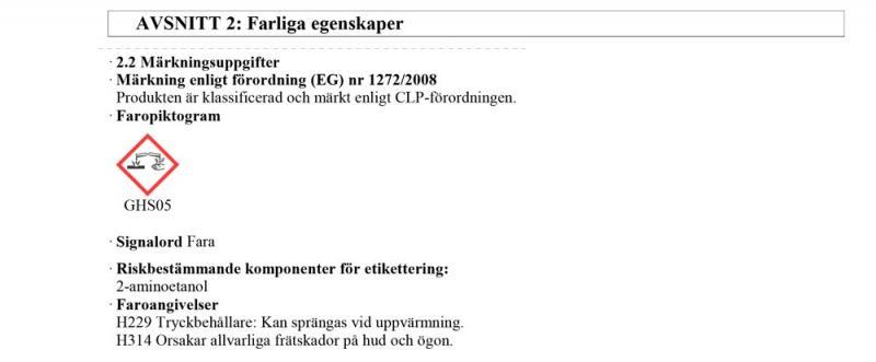 Information farliga egenskaper J02220 DPF Spray