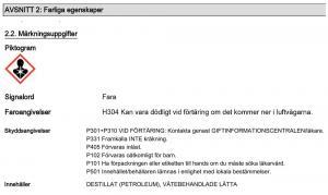 Information farliga egenskaper J02210 Diesel DPF Cleaner