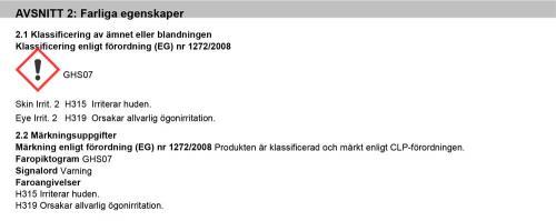 J02240 FARLIGA EGENSKAPER