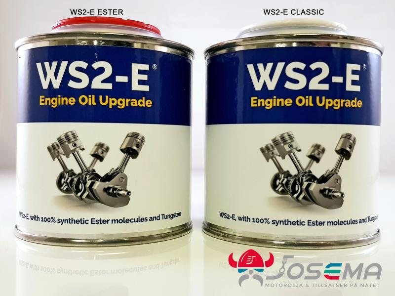 WS2-E med röd kapsyl för vanlig standardolja och WS2-E med vit kapsyl för motorolja som innehåller syntetisk Ester.