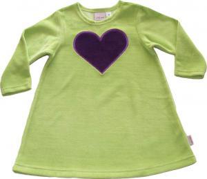 Hjärtanklänning Lindblomsgrön/Mörklila hjärta i velour OEKO-TEX