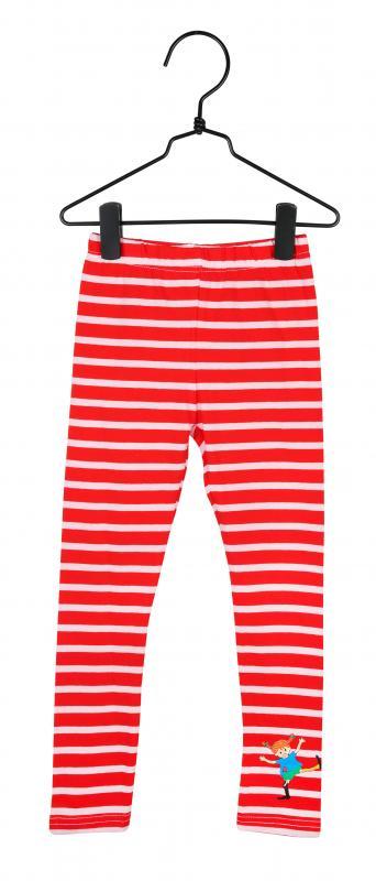 Pippi Leggings Röd/rosa ränder i GOTS bomull