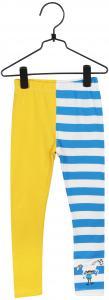 Pippi Leggings Blå/vita ränder ben/gult ben i GOTS bomull