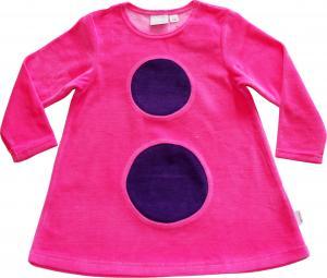 Bollklänning Flamingo-rosa/mörklila bollar OEKO-TEX-velour