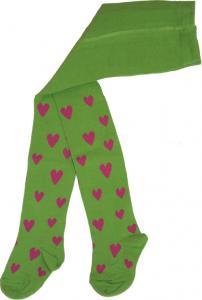 Hjärtanstrumpbyxa Grön/rosa hjärtan i OEKO-TEX