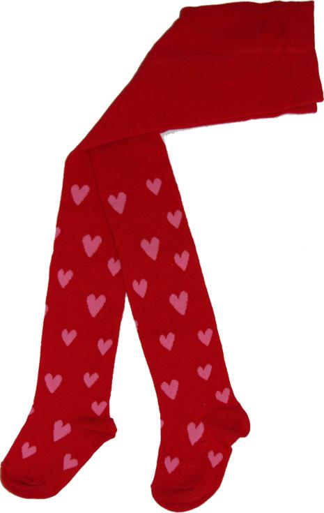 Hjärtanstrumpbyxa Röd/rosa hjärtan i OEKO-TEX