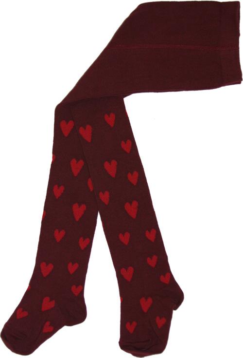 Hjärtanstrumpbyxa Vinröd/röda hjärtan i OEKO-TEX