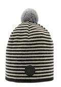 Stickad mössa svart/vit med grå boll