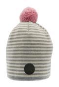 Stickad mössa grå/vit med rosa boll