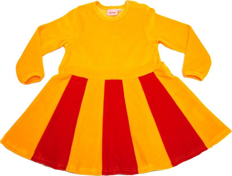 Juliet-klänning Gul/Röd i velour OEKO-TEX