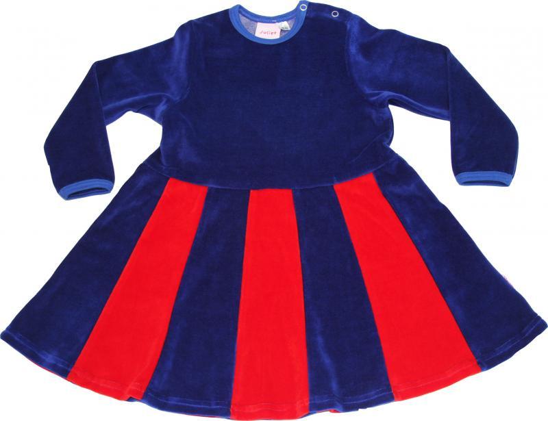 Juliet-klänning Kornblå/röd i velour OEKO-TEX