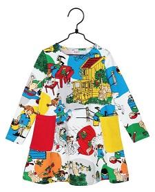 Pippi Klänning Vit med mönster i GOTS bomull