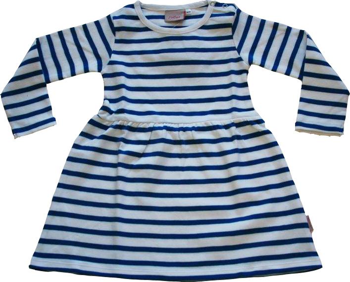 Randig klänning Vit/kornblå ränder GOTS