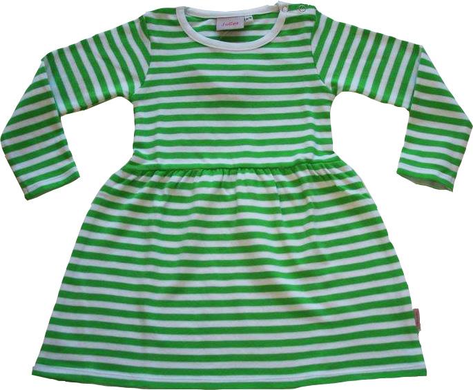 Randig klänning Vit/gröna ränder GOTS