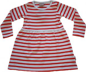 Randig klänning Vit/röda ränder GOTS
