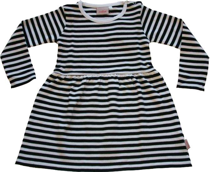 Randig klänning Vit/svarta ränder GOTS