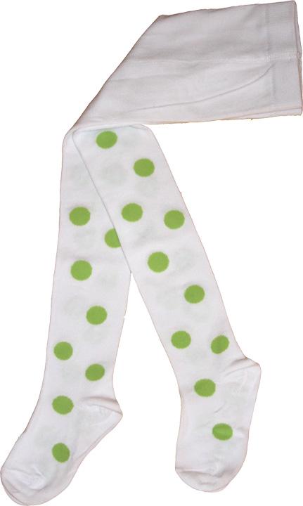 Bollstrumpbyxa Vit/lindblomsgröna bollar